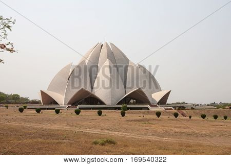 NEW DELHI, INDIA. 30 may 2009:  The Lotus Temple - the main temple of the Bahai religion in India and neighboring countries.  New Delhi, India