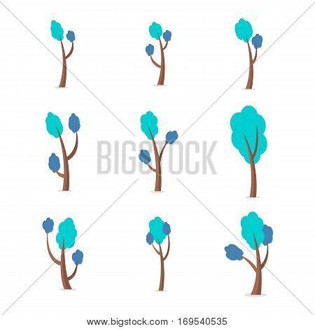 Set of tree style vector flat collection stock