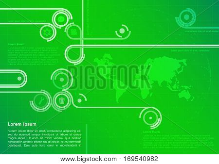 Green technology design with world map. Green Abstract Technology Background. Background Technology Green. Vector illustration.