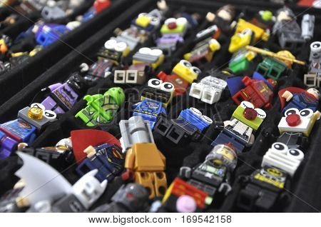SEREMBAN, MALAYSIA -OCTOBER 09, 2016: Key chain with character of famous comic and action figures heroes. It is made from plastic. Is a collection of action figures collectors lovers.