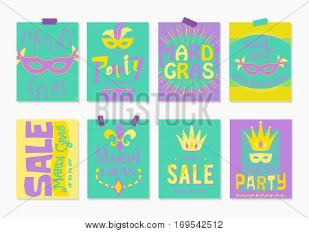 Vector illustration of purple, yellow, green mardi gras greeting cards, sale and party flyer template with lettering typography text sign, fleur de lis, carnival mask, jester hat, beads for design