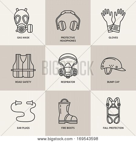 Personal protective equipment line icons. Gas mask, ring buoy, respirator, bump cap, ear plugs and safety work garment. Health protection thin linear signs.