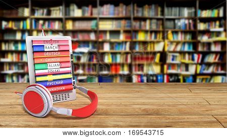 E-book Audio Learning Languages In Library Bacground 3D Render Success Knowlage Concept