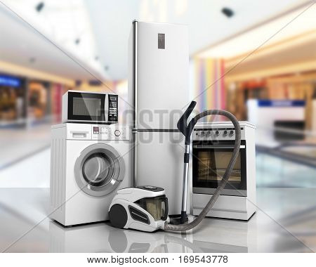 Home Appliances Group Of White Refrigerator Washing Machine Stove Microwave Oven Vacuum Cleaner On G
