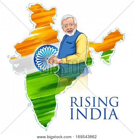 illustration of India map tricolor flag background with proud Indian people