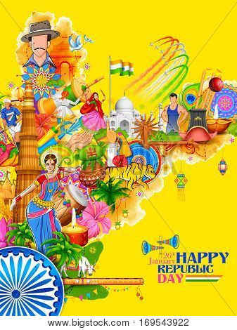 illustration of India background showing its incredible culture and diversity with monument, dance and festival for 26th January Republic Day of India