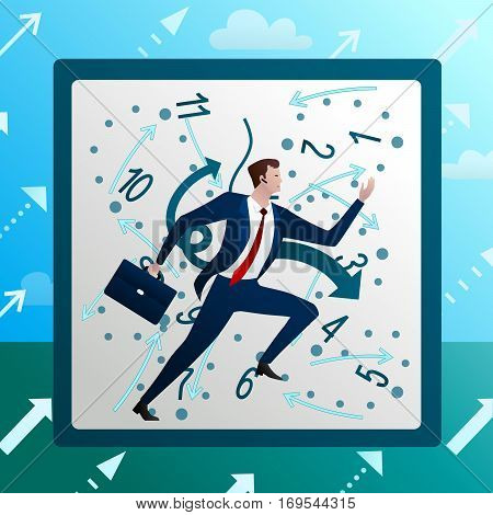Businessman runs against on background of chaotic hours clock, work mad time. Business concept. Cartoon flat vector illustration.