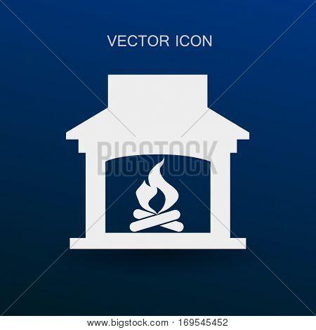 burning fireplace icon vector illustration
