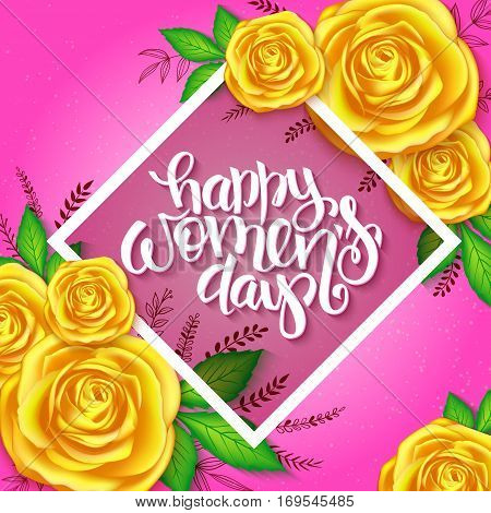 vector illustration of womens day card with lettering - happy womens day on rhombus with rose bouquet and doodle branches.