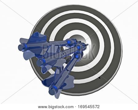Blue arrows on the target white background 3D illustration.