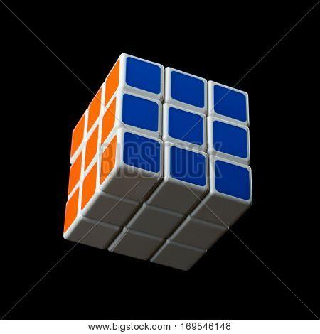 Almetyevsk City, Russia - February 7, 2017: Toy Rubik's Cube