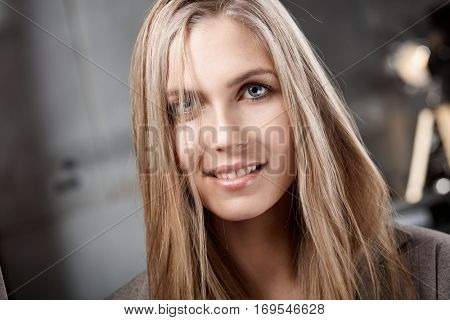 Portrait of beautiful nordic type young woman with long hair.