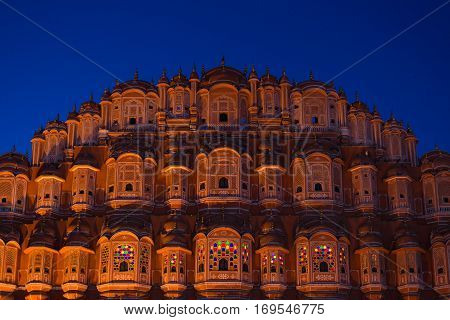 Hawa Mahal The Most Iconic Symbol At Jaipur, Capital City Of Rajasthan, India. Dusk Time With Illumi