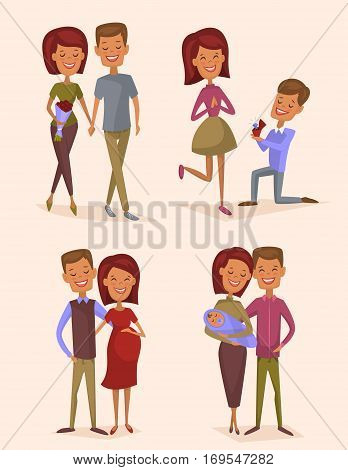 Happy young family couple set isolated vector illustration. Smiling boyfriend and girlfriend being happy, betrothed, marry, become pregnant and have baby. Cheerful young people, lovely family born. Funny family couple. Newlyweds with a child. Young couple