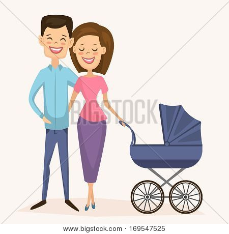 Happy young family couple isolated vector illustration. Cheerful smiling young wife and husband with baby carriage standing together. Lovely family born concept, happy young people with little kid. Funny family couple. Newlyweds with a child. Young couple