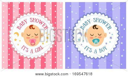 Baby shower party invitation template set vector illustration. Holiday banner with little baby face, happy birthday concept. Baby shower celebration greeting and invitation card for girl and boy. Baby shower concept. Vector baby characters.