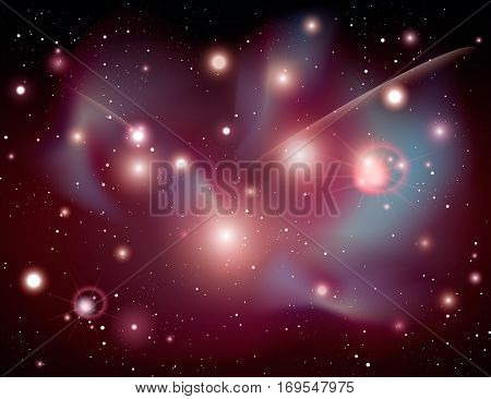 Cosmic galaxy background vector illustration. Night sky with nebula, stardust and bright shining stars. Abstract colorful cosmic galaxy backdrop, mystical space universe, night starry sky template.