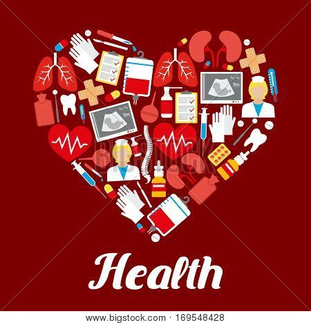 Heart poster or vector medicines and medical items of healthcare drugs, syringe, therapy and dentistry instruments, lungs and kidney human organs, spine bone and tooth, ultrasound display, blood dropper, nasal spray, nurse and thermometer