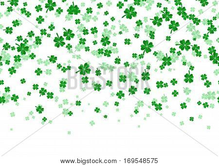 Vector illustration of floral seamless border background with four leaved green clover for saint Patricks day greeting isolated on white background