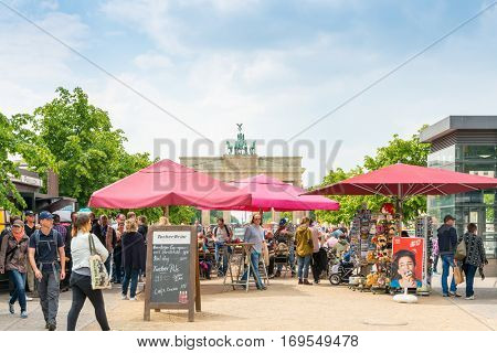 BERLIN, GERMANY- May 18, 2016: Brandenburg Gate (Brandenburger Tor) famous landmark in Berlin, Germany,rebuilt in the late 18th century as a neoclassical triumphal arch. May 18, 2016 in Berlin