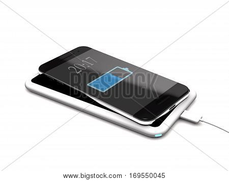 Modern wireless charger and phone on white background (3d illustration).
