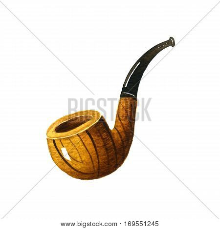 Tobacco pipe. Watercolor illustration on white background