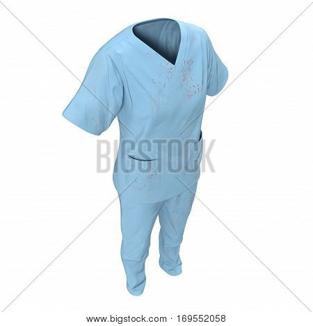 Medical workers clothes for woman stained with blood isolated on white background. No people. 3D illustration