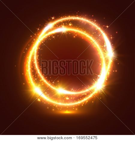 Abstract golden light rings or sparkling and shining golden neon circles with luminous glitter sparks. Shiny shimmering particles of circular star rays and beams with glowing glittering effect. Magic blur lights and flashes