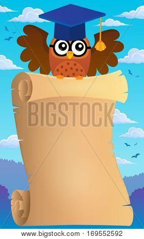 Parchment with school owl theme 2 - eps10 vector illustration.