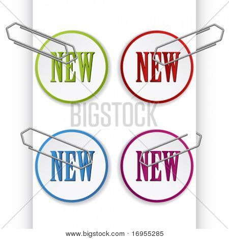 vector new sign labels with paperclips