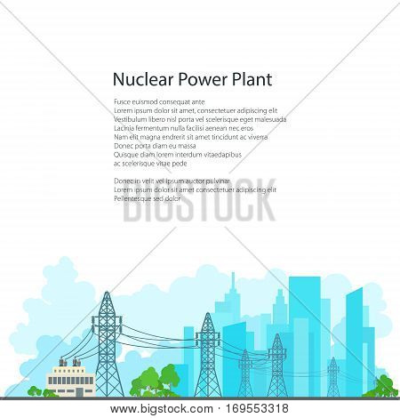 High Voltage Power Lines Supplies Electricity to the City ,Electric Power Transmission on White Background and Text, Poster Brochure Flyer Design, Vector Illustration
