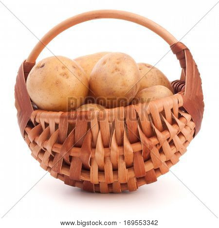 Potato tuber  in wicker basket isolated on white background.