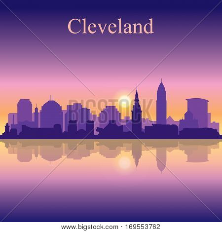 Cleveland Silhouette On Sunset Background