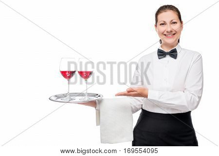 Beautiful Young Waitress With A Red Wine In Glasses On A White Background