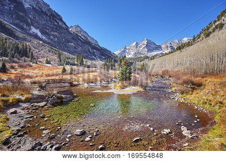 Maroon Bells Mountain Autumn Landscape, Colorado, Usa.