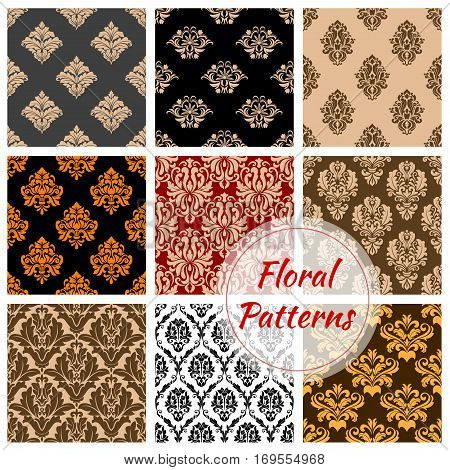 Flowery Damask and floral ornament patterns set. Luxury ornamental flower and baroque ornament or backdrops of motif adornment and embellishment tiles Vector seamless flourish ornate tracery and royal design for interior