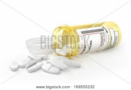 Open Pills Bottle with pills isolated on white background. 3d illustration