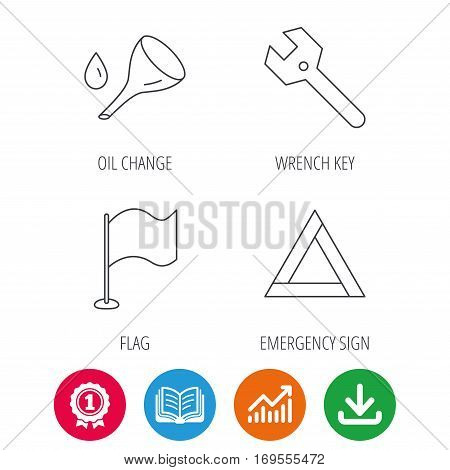 Flag pointer, emergency sign and wrench key icons. Emergency triangle, oil change linear signs. Award medal, growth chart and opened book web icons. Download arrow. Vector