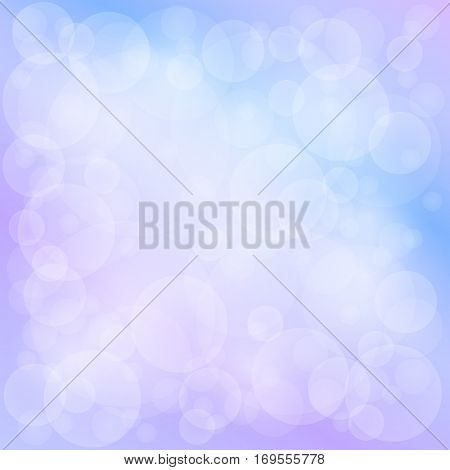 Lilac Blue Soft Bright Abstract Bokeh Background, Soft Glow of the Sun, Defocused Lights ,Vector Illustration