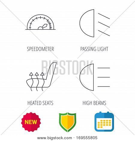 Speedometer, passing fog lights and heated seat icons. High beams linear sign. Shield protection, calendar and new tag web icons. Vector