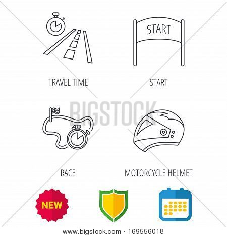 Motorcycle helmet, race timer and travel time icons. Start race linear sign. Shield protection, calendar and new tag web icons. Vector