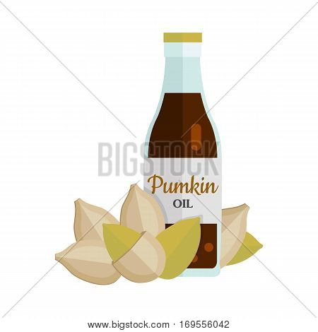 Pumkin seeds with pumkin oil. Ripe pumkin seeds in flat. Pumkin butter in glass bottle. Several pumkin seeds. Healthy vegetarian food. Vector illustration
