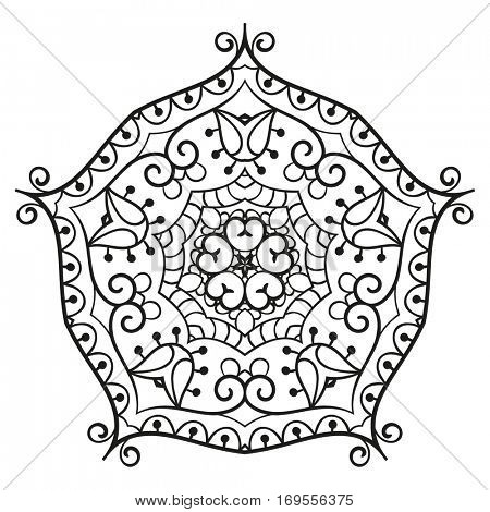 Pentagonal ornamental mandala for coloring book Isolated design element Vector illustration