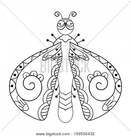 Bug with beautiful wings isolated line art, Page for coloring book, Hand drawn vector illustration