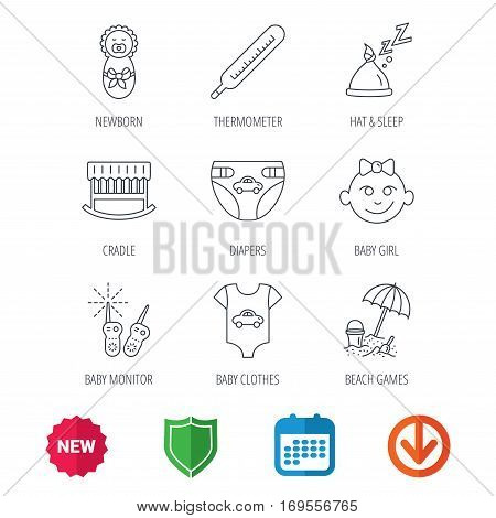 Newborn clothes, diapers and sleep hat icons. Thermometer, baby girl and cradle linear signs. Beach games, monitoring flat line icons. New tag, shield and calendar web icons. Download arrow. Vector