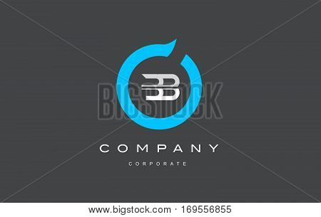 BB letter combination alphabet blue circle vector logo icon sign design template