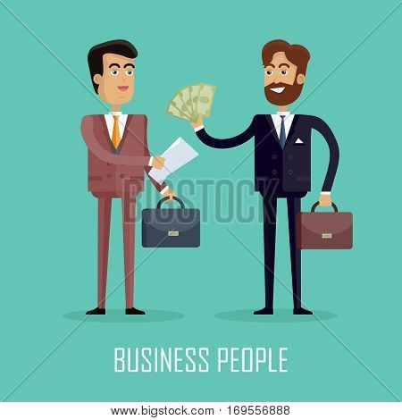 Business people. Two businessmen in business suit and tie with briefcases making a contract. Conclusion of a trade union, cash payment. Smiling young men in flat design isolated on blue background.