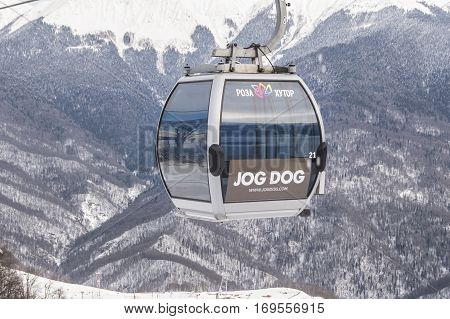 Sochi, Russia - 1 January, Cabs cableway in the air, 1 January, 2017. Winter mountain ski resort Rosa Khutor.