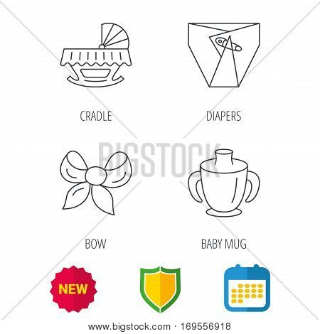 Baby mug, diapers and cradle bed icons. Bow linear sign. Shield protection, calendar and new tag web icons. Vector