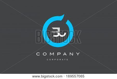 BU letter combination alphabet blue circle vector logo icon sign design template